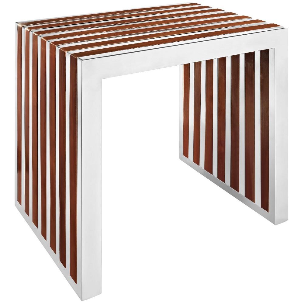Gridiron Small Wood Inlay Bench Walnut (Brown) - Modway