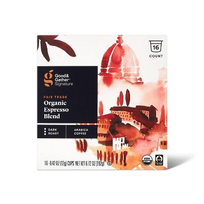 Signature Organic Espresso Blend Dark Roast Coffee - 16ct Single Serve Pods - Good & Gather™