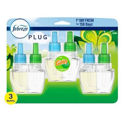 Febreze Plug Air Freshener Scented Oil Refill - Gain Original Scent - 3ct