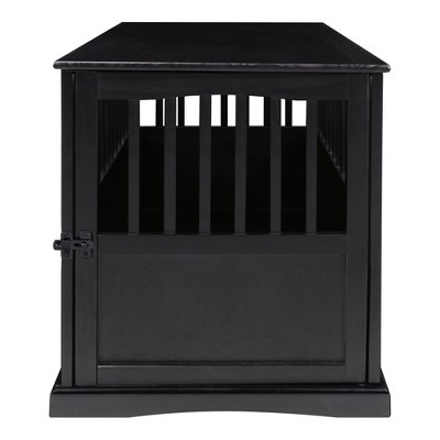 Casual Home Pet Crate End Table w/ Lockable Latch for Large Sized Pets, Black