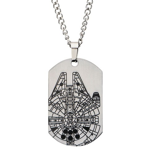 "Men's Disney® Star Wars Millennium Falcon Laser Etched Stainless Steel Dog Tag Pendant with Chain (22"") - image 1 of 2"