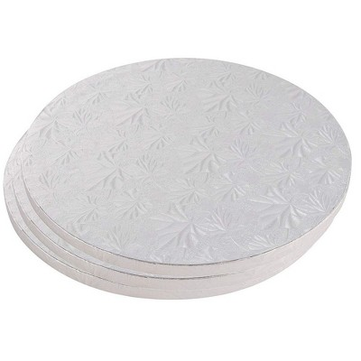 """Juvale 3 Piece Cake Boards Rounds, Silver Foil Pizza Base Disposable Drum Circles, Corrugated Paper Board 12"""""""