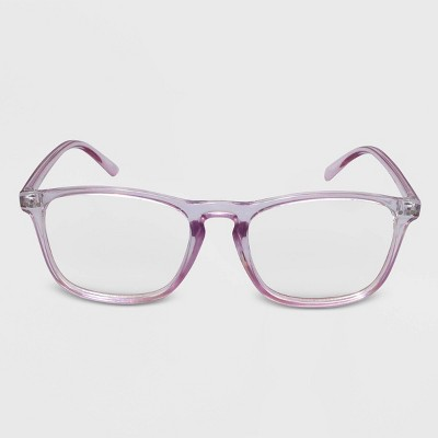 Women's Blue Light Filtering Square Rectangle Glasses - Wild Fable™ Purple