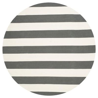 Mati Flatweave Area Rug - Gray / Ivory (6' Round)- Safavieh®