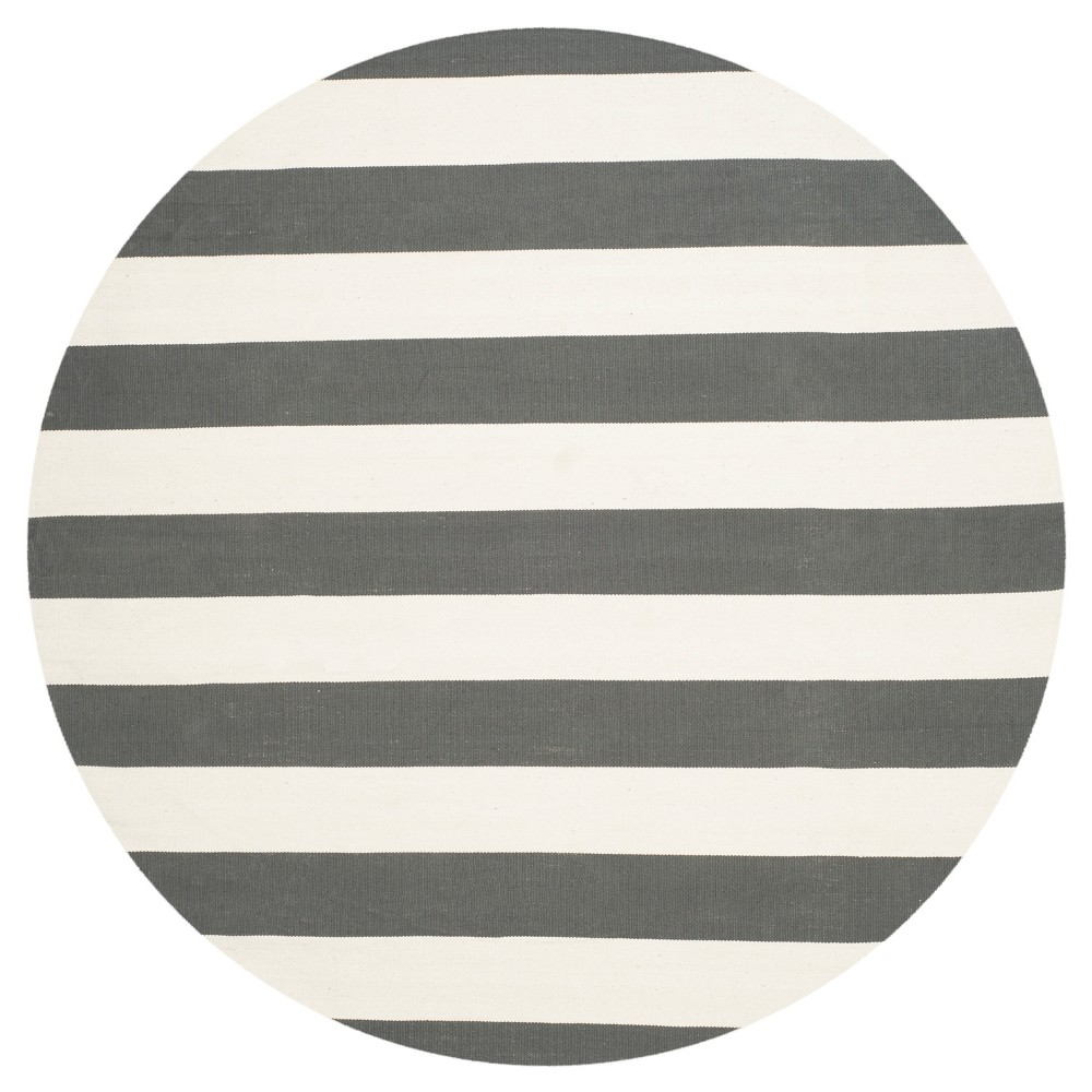 Mati Flatweave Area Rug - Gray / Ivory (8' Round) - Safavieh