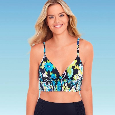 Women's Slimming Control Smocked Triangle Bikini Top - Beach Betty by Miracle Brands Black Floral