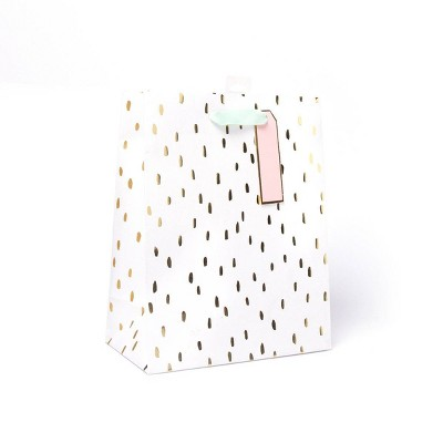 Medium Dotted Gift Bag with Foil Gold/White - Spritz™