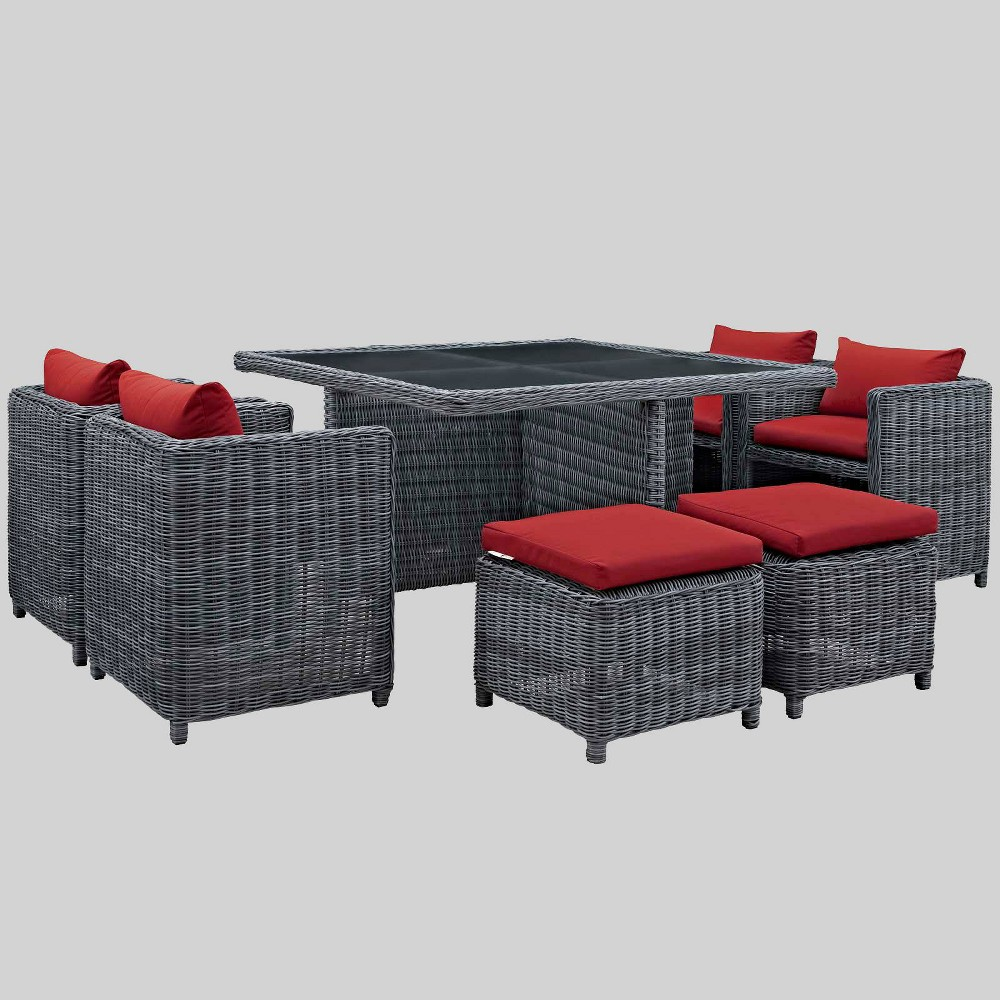 Summon 9pc Outdoor Patio Sunbrella Dining Set - Red - Modway