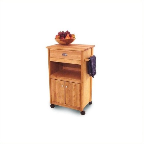 Wood Birch HardWood Cuisine Butcher Block Kitchen Cart in Natural Brown -  Pemberly Row