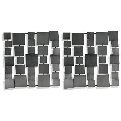 Set of 2 Square Metal Wall Art Panels Gray - StyleCraft