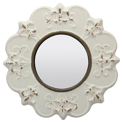 "8"" Decorative Ceramic Wall Mirror Ivory - Stonebriar Collection"