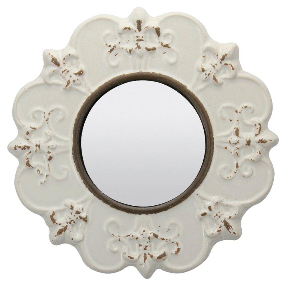 Image of Round Decorative Wall Mirror Off-white - CKK Home Decor