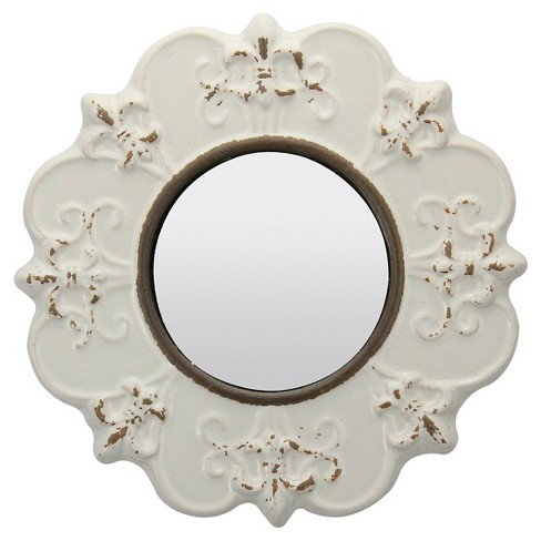 """8"""" Decorative Ceramic Wall Mirror Ivory - Stonebriar Collection - image 1 of 4"""