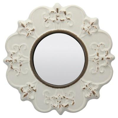 Round Decorative Wall Mirror Off White   CKK Home Decor