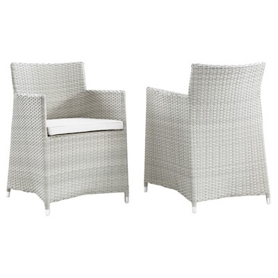Junction Armchair Outdoor Patio Wicker Set of 2 in Gray White - Modway