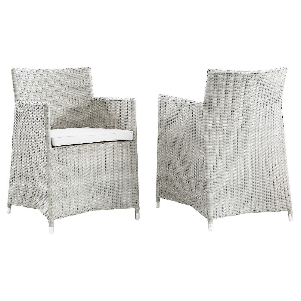 Junction Armchair Outdoor Patio Wicker Set of 2 in Gray White - Modway, Brown