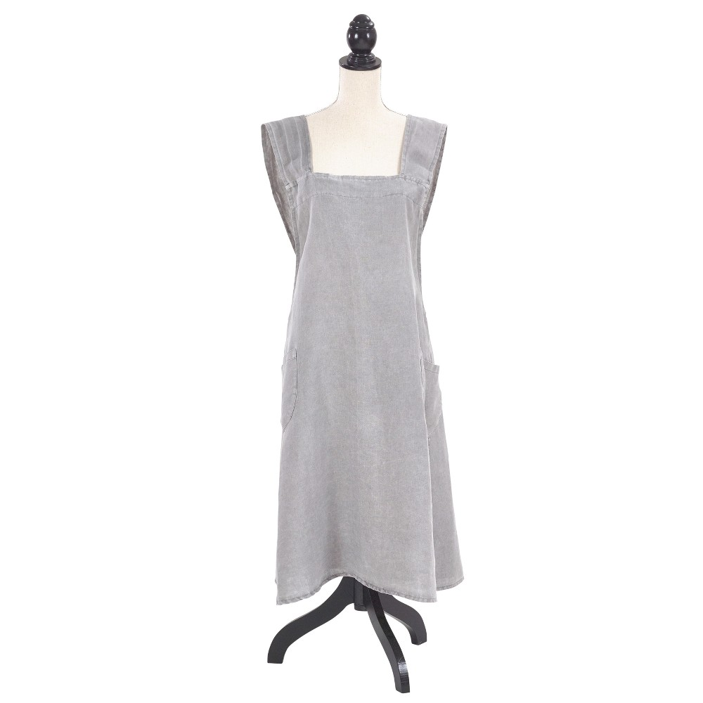 10 Things to Do with Vintage Aprons Front Two Pocket Crossback Linen Cooking Apron 35x28 Gray - Saro Lifestyle Cloud Grey $62.99 AT vintagedancer.com