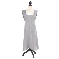 """Front Two Pocket Crossback Linen Cooking Apron 35""""x28"""" Gray - Saro Lifestyle"""