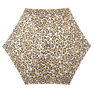 Cirra by ShedRain Leopard Print Mini Manual Compact Umbrella - White