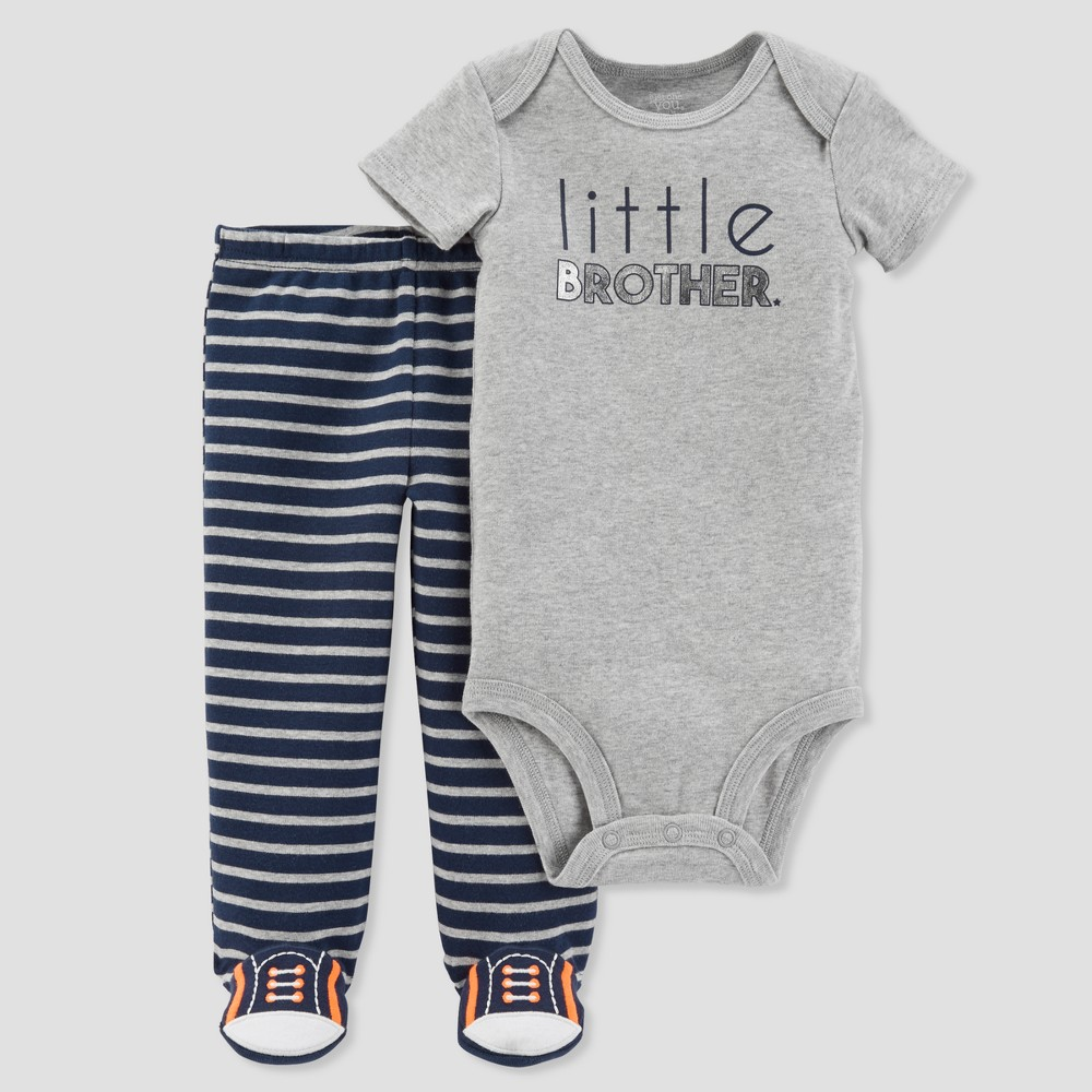 Baby Boys' 2pc Little Brother Footed Pants Set - Just One You made by carter's Gray Newborn