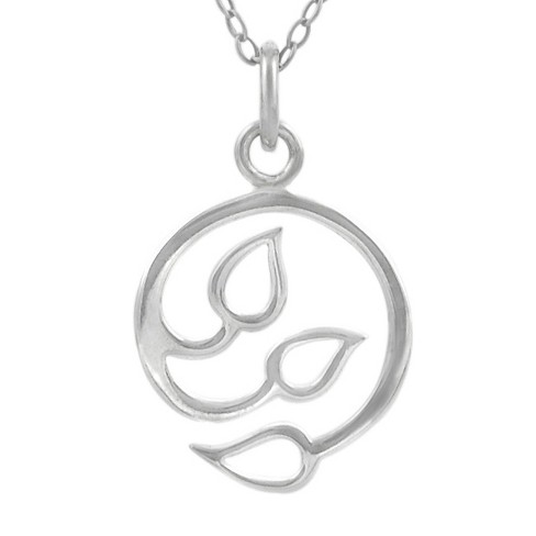 "Women's Journee Collection Three Leaf Pendant Necklace in Sterling Silver - Silver (18"") - image 1 of 2"