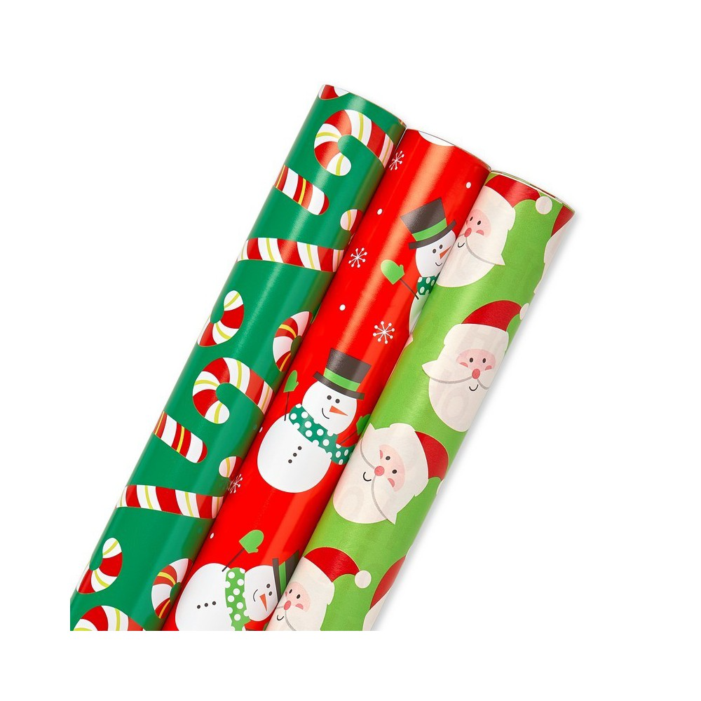 3ct American Greetings Reversible Gift Wrap Red/White/Green - 120 sq ft, Multi-Colored