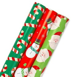 3ct American Greetings Reversible Gift Wrap Red/White/Green - 120 sq ft