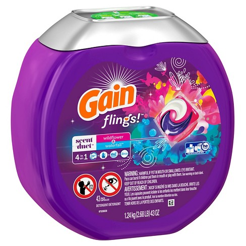 Gain Flings! Scent Duets Wildflower and Waterfall Laundry Detergent Pacs -  43 ct