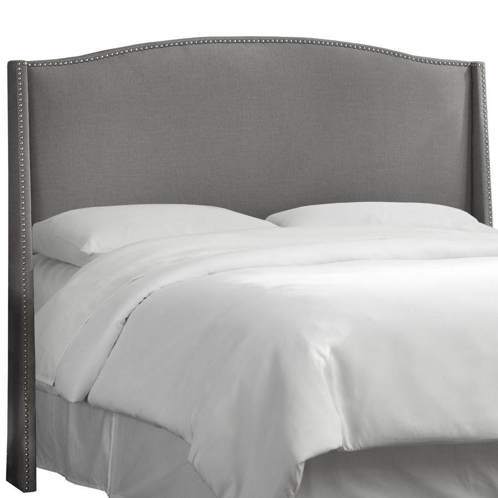 California King Palermo Nailbutton Wingback Linen Headboard Gray - Skyline Furniture