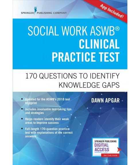 Social Work Aswb Clinical Practice Test : 170 Questions to Identify Knowledge Gaps (Paperback) (Ph.D. - image 1 of 1