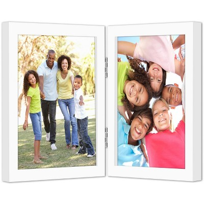 Americanflat Hinged Picture Frame with Two Displays in Shatter Resistant Glass for Tabletop