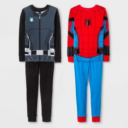 Boys' Spider-Man 4pc Pajama Set - Black/Blue/Red