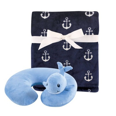 Hudson Baby Unisex Baby Neck Pillow and Plush Blanket -Set Whale One Size