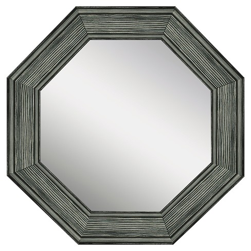 Octagon Reclaimed Wood Decorative Wall Mirror Gray Ptm Images Target