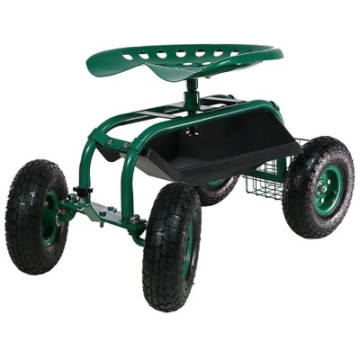 Charmant Rolling Garden Cart With Work Seat, Basket And Tray   Green   Sunnydaze  Decor