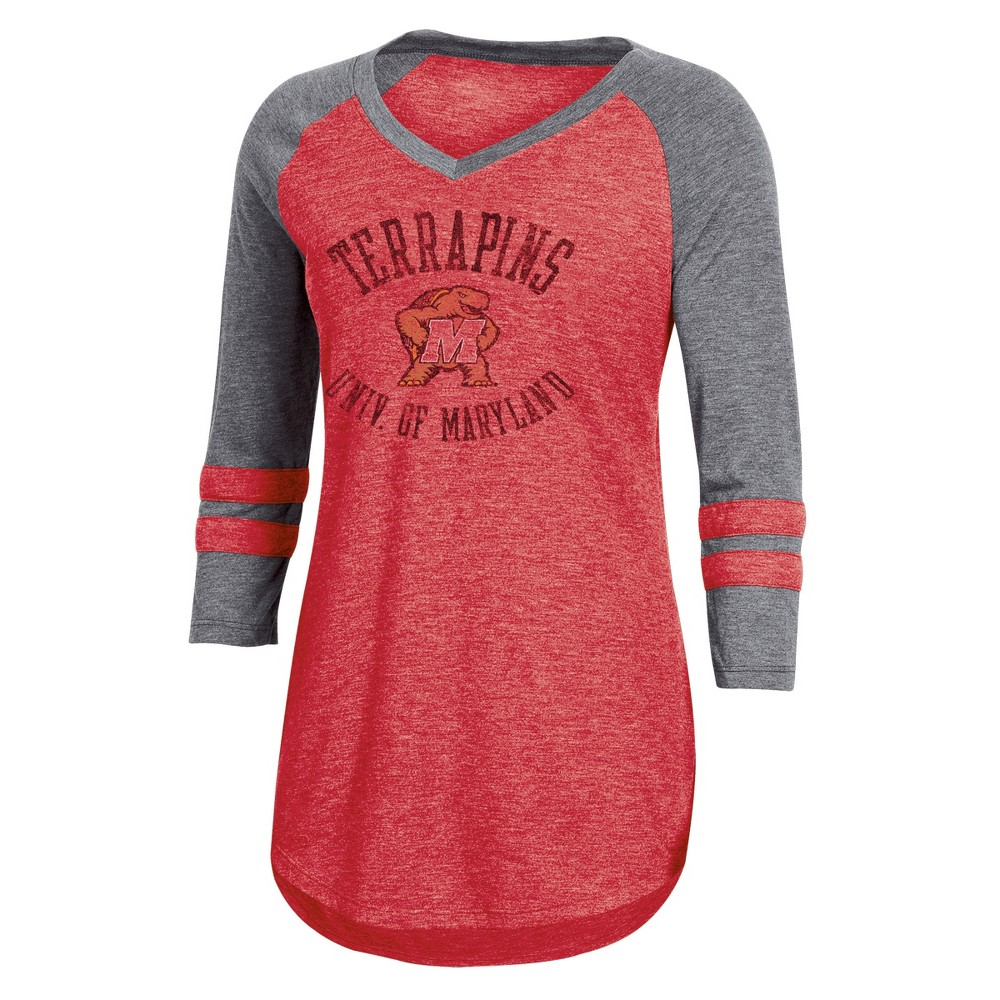 NCAA Women's 3/4 Sleeve V-Neck T-Shirt - Maryland Terrapins - L, Multicolored