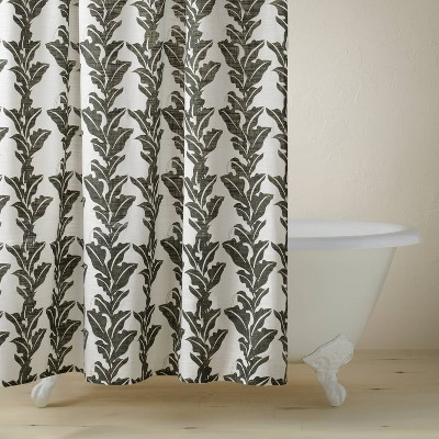 Botanical Leaf Print Shower Curtain Black/White - Opalhouse™ designed with Jungalow™