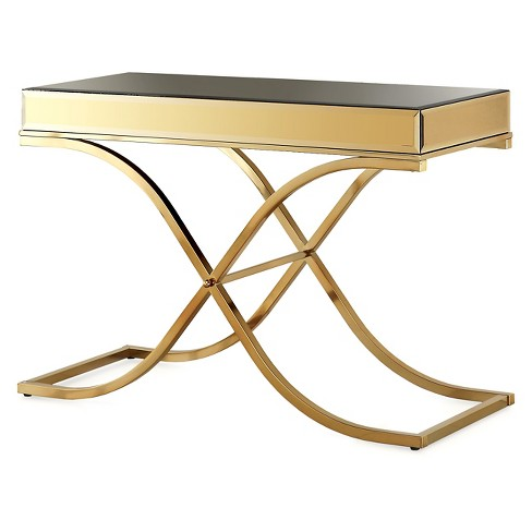 ioHomes Sunkissed Modern Mirrored Sofa Table Brass - image 1 of 3