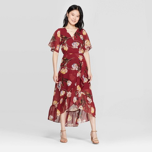 0af8b9b4a Women's Floral Print Short Sleeve V-Neck Midi Dress - A New Day™ Burgundy :  Target