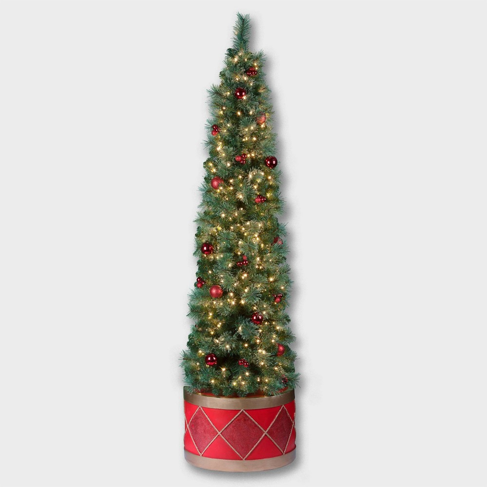 Image of 6.5ft Calgary Artificial Christmas Drum Tree - Haute Decor, Green