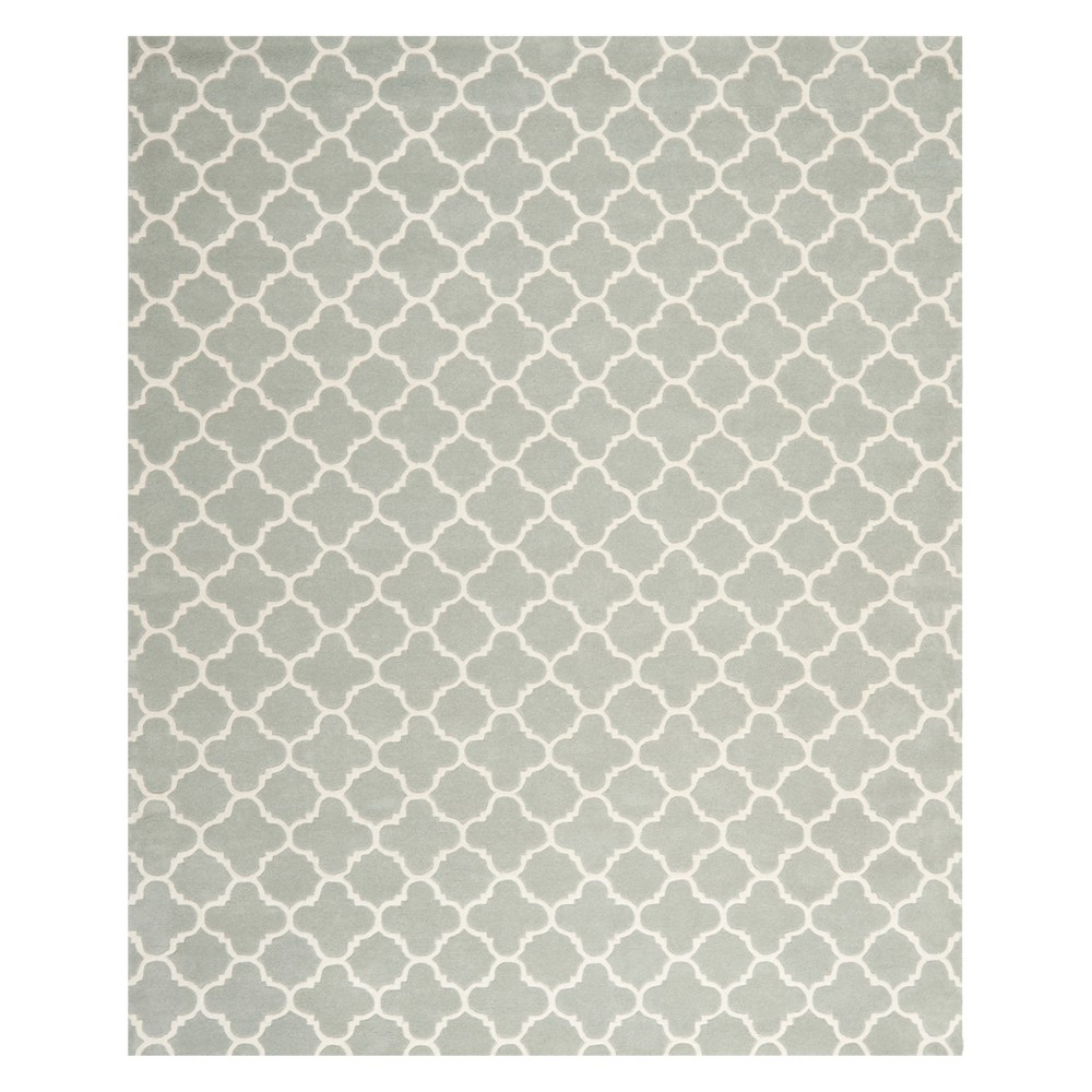 Quatrefoil Design Tufted Area Rug Gray/Ivory