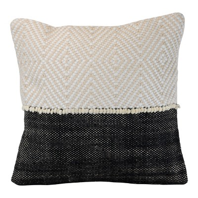 Diamond Pattern Hand Woven 18x18 Outdoor Decorative Throw Pillow With Pulled Yarn Accents Foreside Home Garden Target