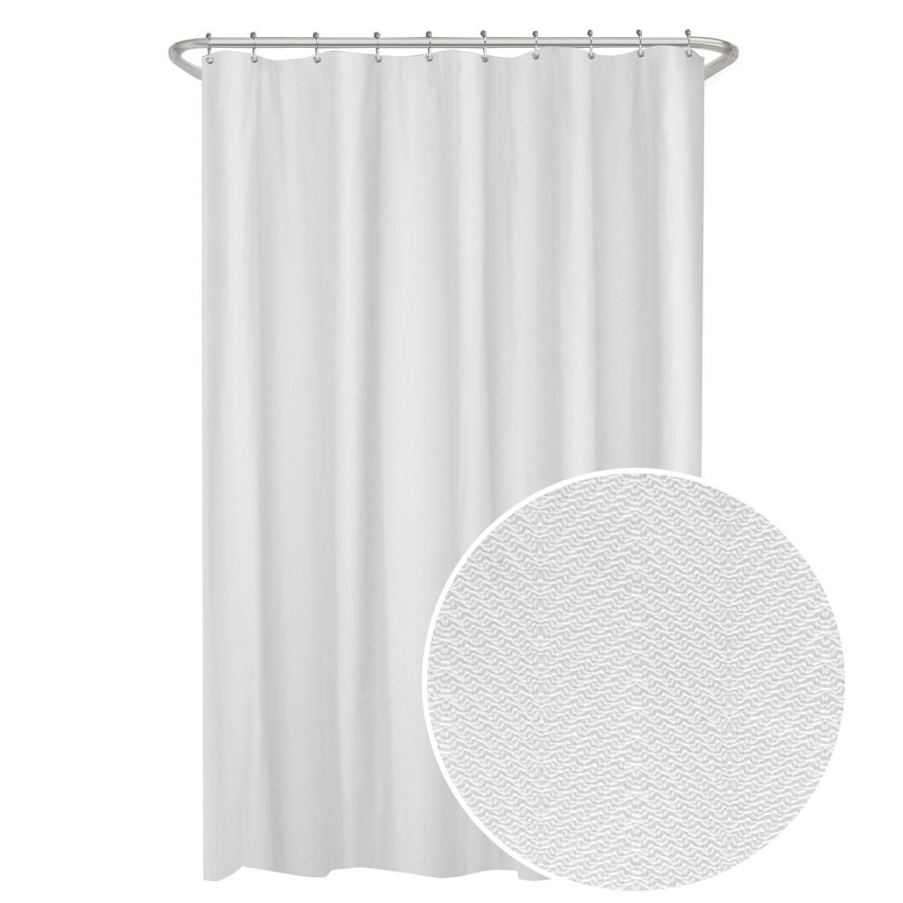 Image of Herringbone Ultimate Shower Liner White - Maytex