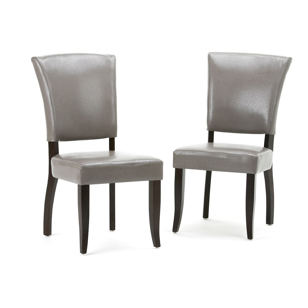 GriffDeluxe Dining Chair Set of 2 Taupe (Brown) Faux Leather - Wyndenhall