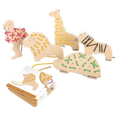 Kaplan Early Learning Safari Wooden Lacing Animals - Set of 5