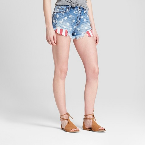 87f65a5c38b3 Women s High-Rise Stars and Stripes Shorts - Mossimo Supply Co.™ Medium Wash
