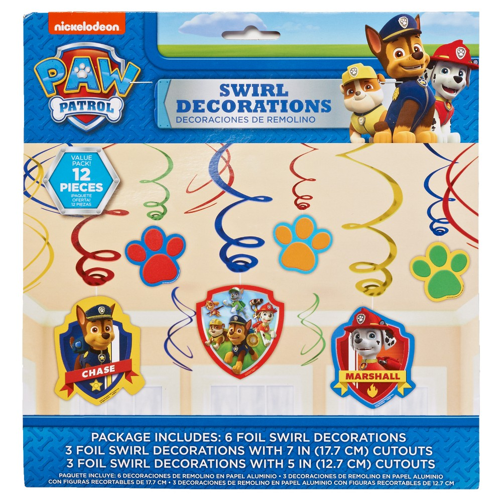 Image of 12 ct Paw Patrol Swirl Party Décor, Boy's