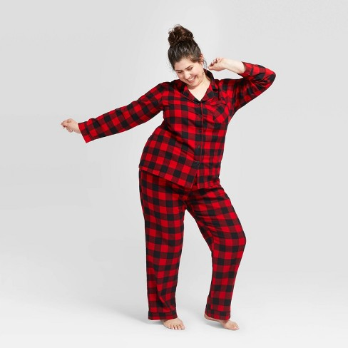 Women's Plus Size Buffalo Check Flannel Pajama Set - Wondershop™ Red - image 1 of 3