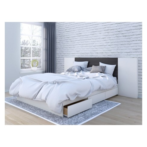 Queen 3pc Cadence Storage Bed And, Queen Platform Bed With Storage And Headboard White