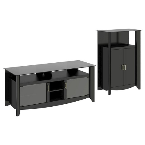 Aero TV Stand and Medium Library Storage/Bar - Classic Black - Bush Furniture - image 1 of 5